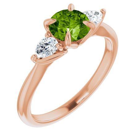 Genuine Peridot Ring in 14 Karat Rose Gold Peridot & 1/4 Carat Diamond Ring