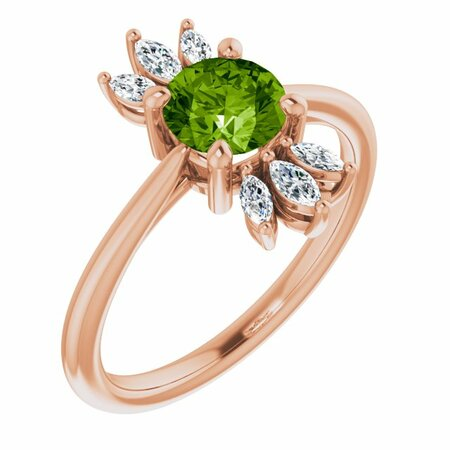 Genuine Peridot Ring in 14 Karat Rose Gold Peridot & 1/4 Carat Diamond Ring
