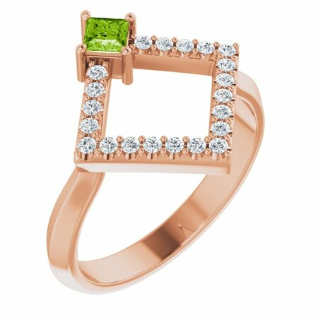 Genuine Peridot Ring in 14 Karat Rose Gold Peridot & 1/5 Carat Diamond Geometric Ring