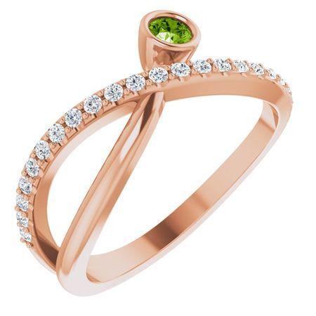 Genuine Peridot Ring in 14 Karat Rose Gold Peridot & 1/5 Carat Diamond Ring