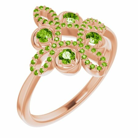 Genuine Peridot Ring in 14 Karat Rose Gold Peridot & 1/6 Carat Diamond Clover Ring