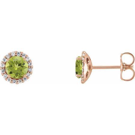 Genuine Peridot Earrings in 14 Karat Rose Gold Peridot & 1/6 Carat Diamond Earrings