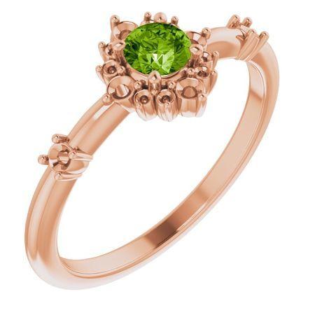 Genuine Peridot Ring in 14 Karat Rose Gold Peridot & 1/6 Carat Diamond Ring