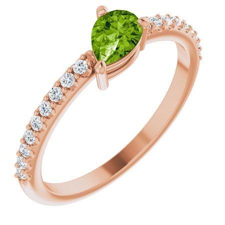 Genuine Peridot Ring in 14 Karat Rose Gold Peridot & 1/6 Carat Diamond Stackable Ring