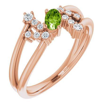 Genuine Peridot Ring in 14 Karat Rose Gold Peridot & 1/8 Carat Diamond Bypass Ring