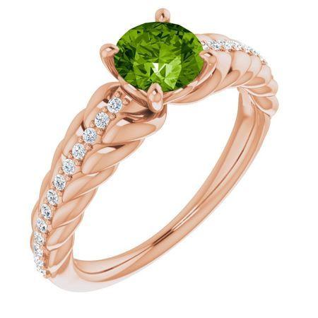 Genuine Peridot Ring in 14 Karat Rose Gold Peridot & 1/8 Carat Diamond Ring