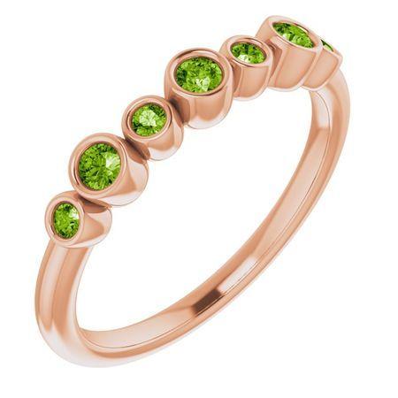 Genuine Peridot Ring in 14 Karat Rose Gold Peridot Bezel-Set Ring