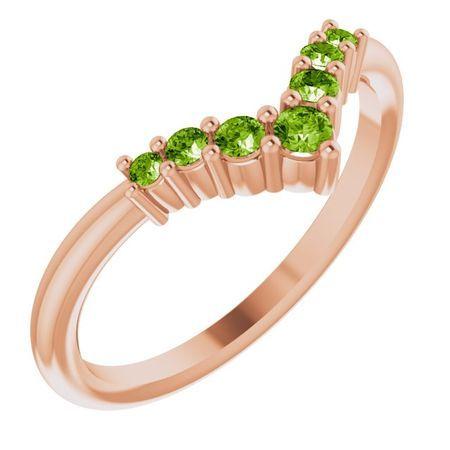 Genuine Peridot Ring in 14 Karat Rose Gold Peridot Graduated