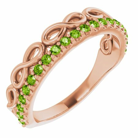 Genuine Peridot Ring in 14 Karat Rose Gold Peridot Infinity-Inspired Stackable Ring