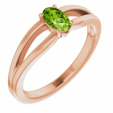 Genuine Peridot Ring in 14 Karat Rose Gold Peridot Solitaire Youth Ring