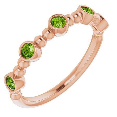 Genuine Peridot Ring in 14 Karat Rose Gold Peridot Stackable Beaded Ring