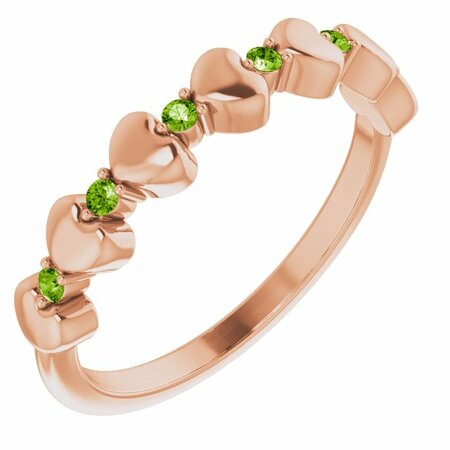 Genuine Peridot Ring in 14 Karat Rose Gold Peridot Stackable Heart Ring