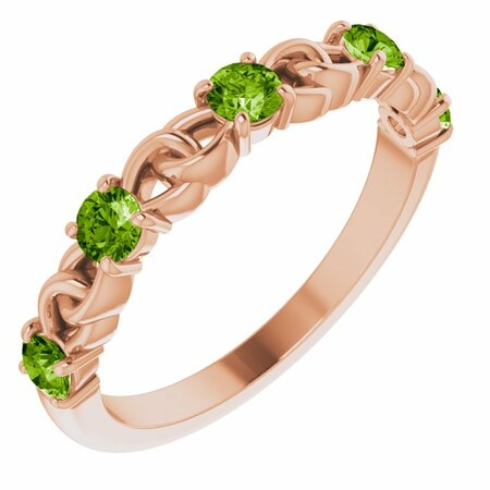 Genuine Peridot Ring in 14 Karat Rose Gold Peridot Stackable Link Ring