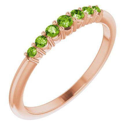 Genuine Peridot Ring in 14 Karat Rose Gold Peridot Stackable Ring