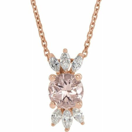 Pink Morganite Necklace in 14 Karat Rose Gold Pink Morganite & 1/4 Carat Diamond 16-18
