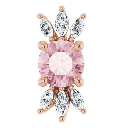 Pink Morganite Pendant in 14 Karat Rose Gold Pink Morganite & 1/4 Carat Diamond Pendant