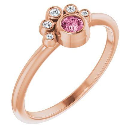 Pink Tourmaline Ring in 14 Karat Rose Gold Pink Tourmaline & .04 Carat Diamond Ring