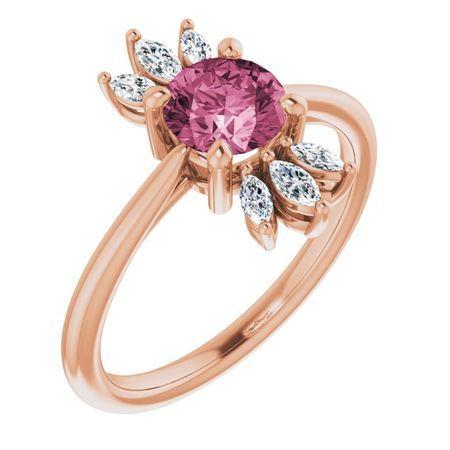 Pink Tourmaline Ring in 14 Karat Rose Gold Pink Tourmaline & 1/4 Carat Diamond Ring