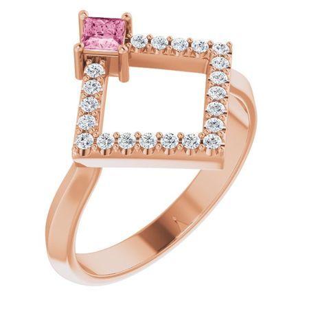 Pink Tourmaline Ring in 14 Karat Rose Gold Pink Tourmaline & 1/5 Carat Diamond Geometric Ring