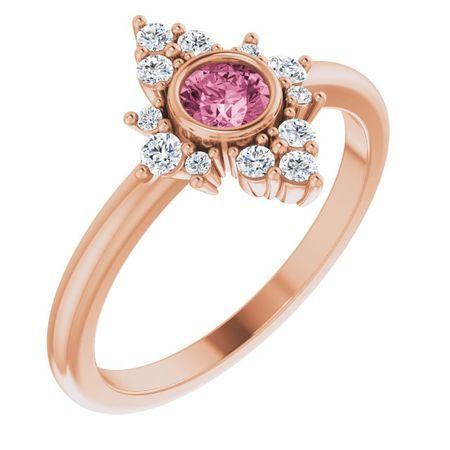Pink Tourmaline Ring in 14 Karat Rose Gold Pink Tourmaline & 1/5 Carat Diamond Ring