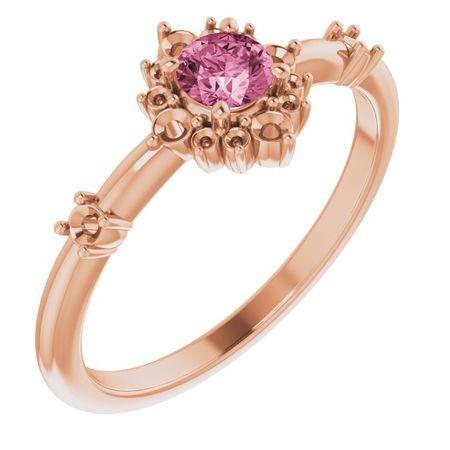 Pink Tourmaline Ring in 14 Karat Rose Gold Pink Tourmaline & 1/6 Carat Diamond Ring