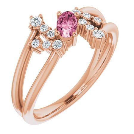 Pink Tourmaline Ring in 14 Karat Rose Gold Pink Tourmaline & 1/8 Carat Diamond Bypass Ring