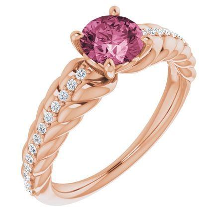 Pink Tourmaline Ring in 14 Karat Rose Gold Pink Tourmaline & 1/8 Carat Diamond Ring