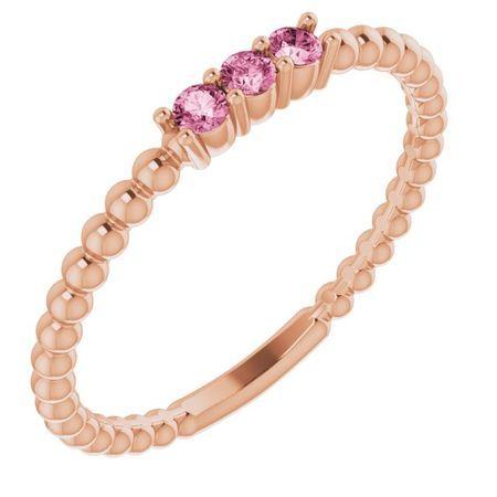 Pink Tourmaline Ring in 14 Karat Rose Gold Pink Tourmaline Beaded Ring