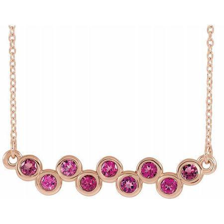 Pink Tourmaline Necklace in 14 Karat Rose Gold Pink Tourmaline Bezel-Set Bar 16-18