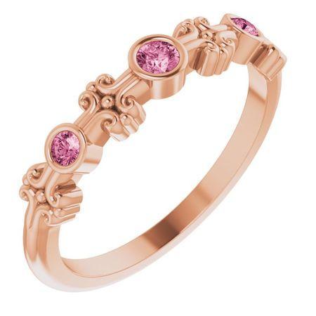 Pink Tourmaline Ring in 14 Karat Rose Gold Pink Tourmaline Bezel-Set Ring