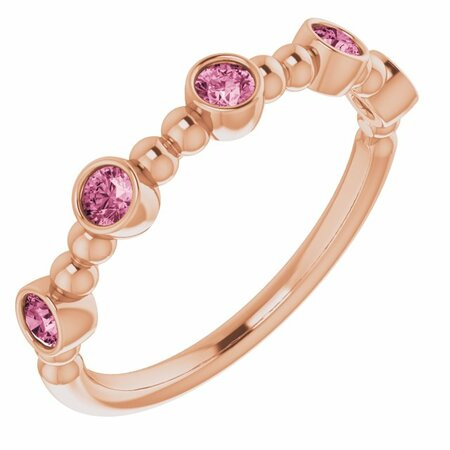 Pink Tourmaline Ring in 14 Karat Rose Gold Pink Tourmaline Stackable Beaded Ring