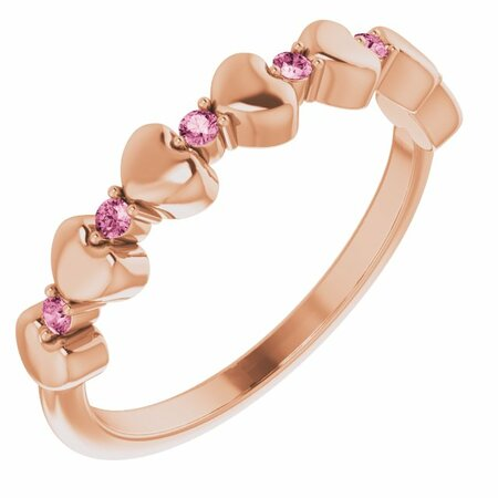 Pink Tourmaline Ring in 14 Karat Rose Gold Pink Tourmaline Stackable Heart Ring