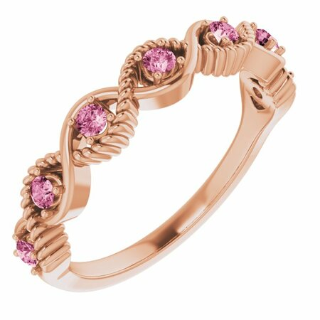 Pink Tourmaline Ring in 14 Karat Rose Gold Pink Tourmaline Stackable Ring