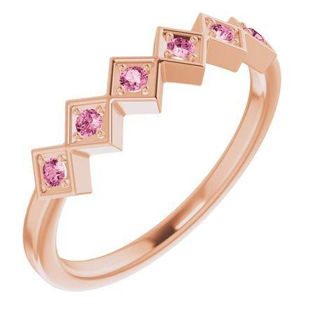 Pink Tourmaline Ring in 14 Karat Rose Gold Pink Tourmaline Stackable Ring