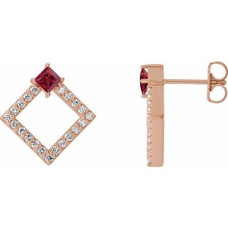 Genuine Ruby Earrings in 14 Karat Rose Gold Ruby & 1/3 Carat Diamond Earrings