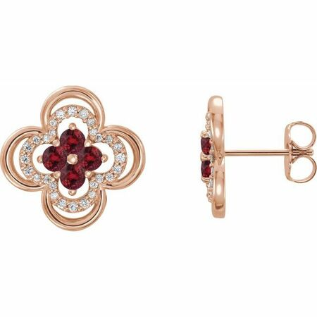 Natural Ruby Earrings in 14 Karat Rose Gold Ruby & 1/5 Carat Diamond Clover Earrings