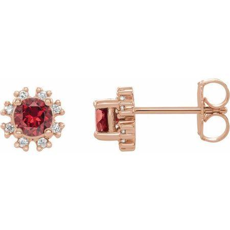 Genuine Ruby Earrings in 14 Karat Rose Gold Ruby & 1/5 Carat Diamond Earrings