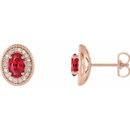 Genuine Ruby Earrings in 14 Karat Rose Gold Ruby & 1/5 Carat Diamond Halo-Style Earrings