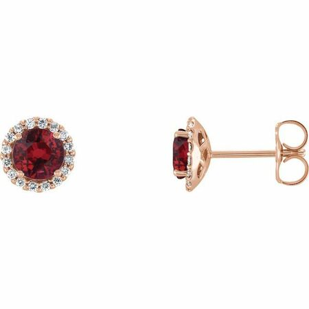 Genuine Ruby Earrings in 14 Karat Rose Gold Ruby & 1/6 Carat Diamond Earrings