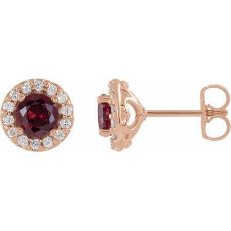 Genuine Ruby Earrings in 14 Karat Rose Gold Ruby & 1/6 Carat Diamond Earrings