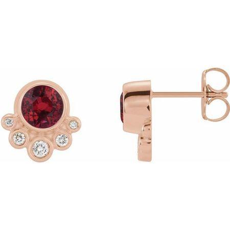 Genuine Ruby Earrings in 14 Karat Rose Gold Ruby & 1/8 Carat Diamond Earrings