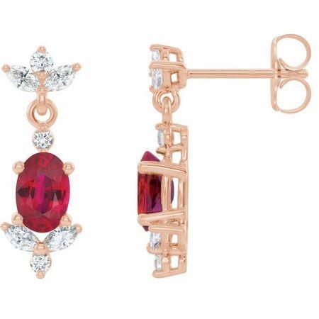 Genuine Ruby Earrings in 14 Karat Rose Gold Ruby & 3/8 Carat Diamond Earrings