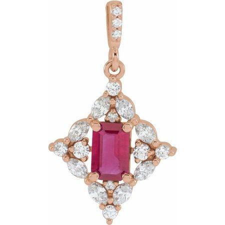 Natural Ruby Pendant in 14 Karat Rose Gold Ruby & 3/8 Carat Diamond Pendant
