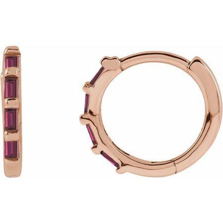 Genuine Ruby Earrings in 14 Karat Rose Gold Ruby Hinged Hoop Earrings