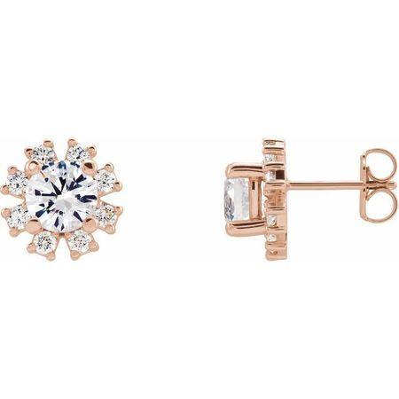 Genuine Sapphire Earrings in 14 Karat Rose Gold Sapphire & 1/2 Carat Diamond Earrings
