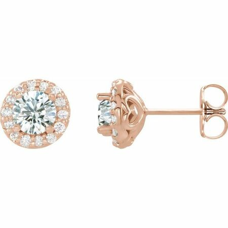 Genuine Sapphire Earrings in 14 Karat Rose Gold Sapphire & 1/4 Carat Diamond Earrings