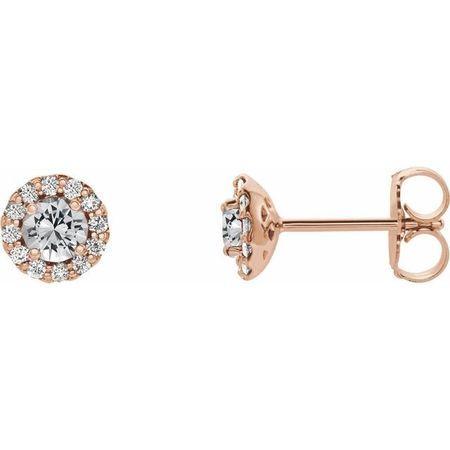 Genuine Sapphire Earrings in 14 Karat Rose Gold Sapphire & 1/5 Carat Diamond Earrings