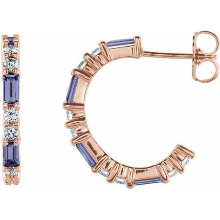 Genuine Tanzanite Earrings in 14 Karat Rose Gold Tanzanite & 1/2 Carat Diamond Earrings