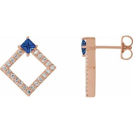 Genuine Tanzanite Earrings in 14 Karat Rose Gold Tanzanite & 1/3 Carat Diamond Earrings