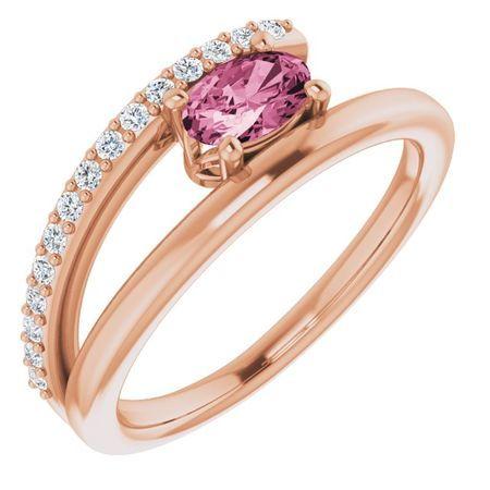 Pink Tourmaline Ring in 14 Karat Rose Gold Tourmaline & 1/8 Carat Diamond Ring